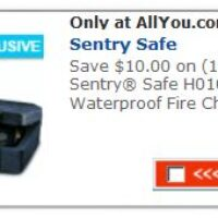 Current All You Coupons: Newly Added: $10 off any One Sentry Safe H0100 WaterProof Fire Chest