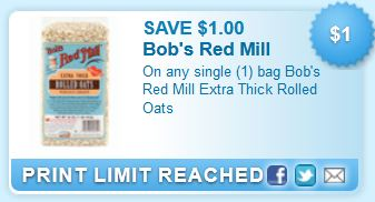 photo relating to Bobs Printable Coupons called $1 off any 1 Bag of Bobs Pink Mill Excess Thick Rolled Oats