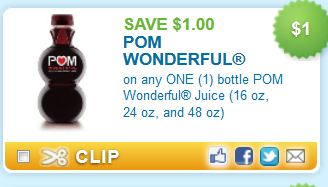 Do you want to save on Pom Wonderful? There is a new deal for their juice! This coupon is for $1 off your purchase. Find this item at a store near you. This coupon is valid on any size 16 ounce and up! Pom Wonderful $1 Off.