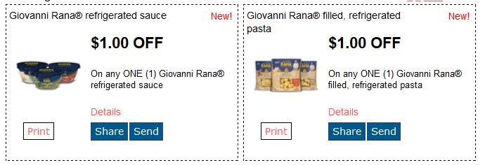 $1 off any one Giovanni Rana Refrigerated Sauce & $1/1