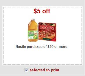 Nestle $20 or more