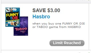 image regarding Hasbro Printable Coupon referred to as $3 off any One particular Humorous or Die or Taboo Activity Towards Hasbro
