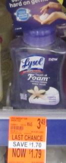 Lysol touch of foam wags