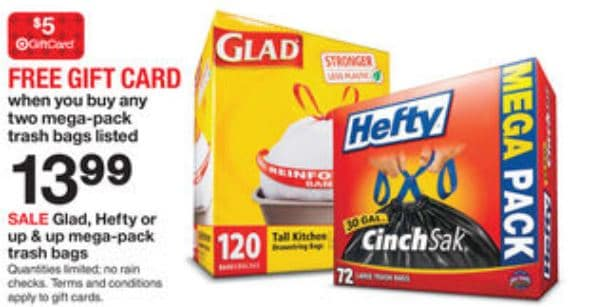 graphic regarding Glad Trash Bags Printable Coupon identified as Aim: Totally free $5 Reward Card While on your own obtain 2 Weighty, Content or Up