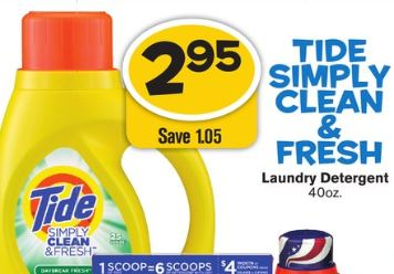 photo regarding Tide Simply Clean Printable Coupons titled Freds: Tide Basically Contemporary New 40 oz Laundry Detergent for
