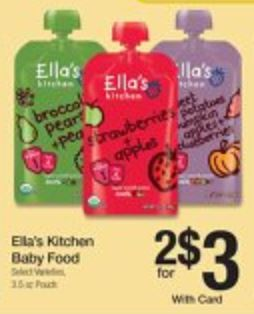 Kroger has Ella's Kitchen Baby Food 3.5 oz Pouches on sale two for $3. $.50 each after the coupon below.