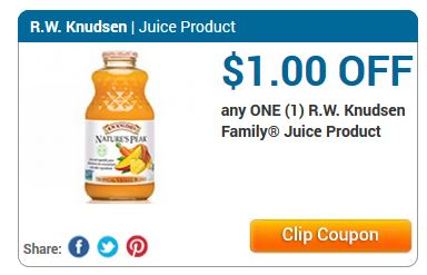 Knudsen Family are rw knudsen coupons the best choice expedia domestic flight coupons for your family! Knudsen Juice Coupon $1. Just a tip, the more lesser known companies listed were more likely to send trial or full size products.