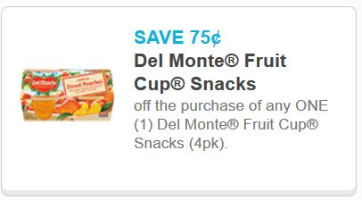 del monte fruit cup four pack