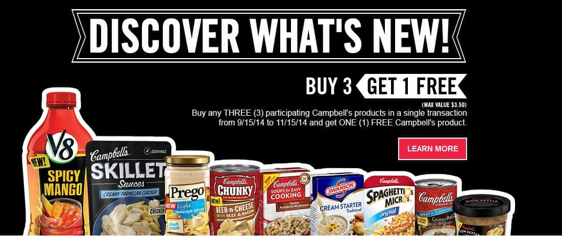 campbell's buy three get one free
