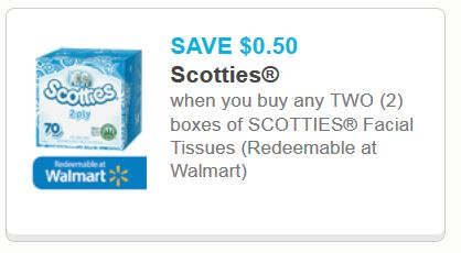 graphic about Scotties Tissues Printable Coupon named Nicer Truly worth: $.50 off 2 Packing containers of Scotties Facial Tissue