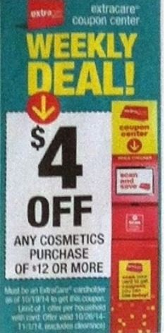cvs 10-26 $4 off $12 cosmetic