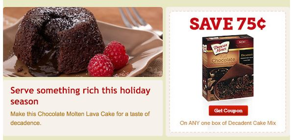 picture regarding Duncan Hines Coupons Printable called Duncan Hines Decadent Cake Blend or Decadent Brownie Blend