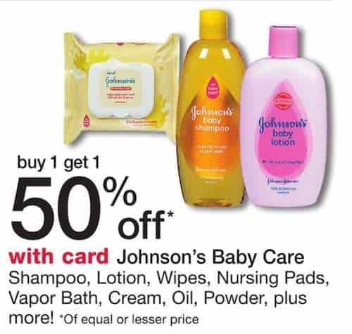 Johnson Baby Products Walgreens BOGO