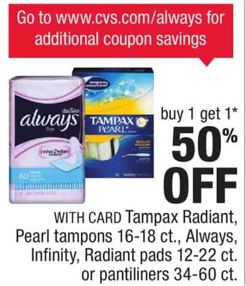 Tampax Radiant Products Printable Coupon