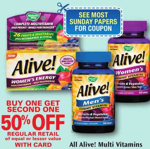 Alive Multivitamins Printable Coupon