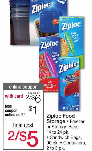 Coupons for ziploc storage bags