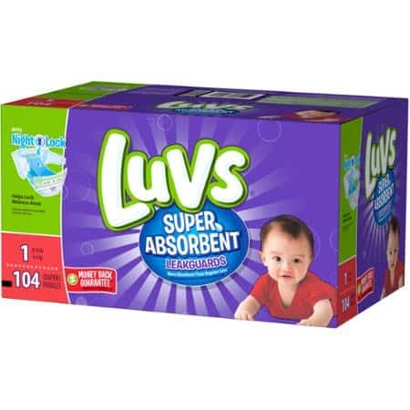 Luvs Super Absorbent Disposable Diapers Box 104ct Printable Coupon