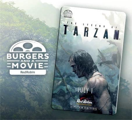 image regarding Red Robin Printable Coupons named Burgers A Video clip! Totally free Online video Ticket Toward The Legend Of Tarzan