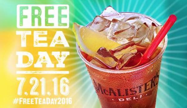 Mcalister's Free Tea Day 2016 Printable Coupon