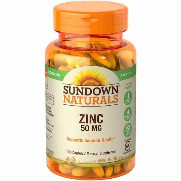 Sundown Naturals 50 mg Zinc Caplets 100ct