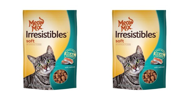 graphic about Meow Mix Coupon Printable known as Meow Mixture Irresistibles Salmon Cat Snacks Basically $0.94/Bag At