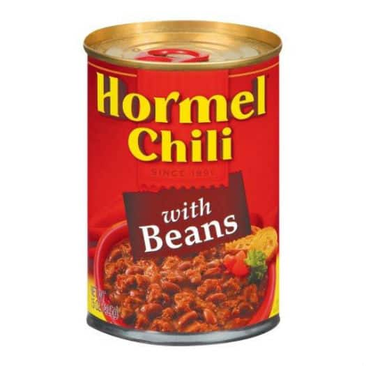 image relating to Chili Printable Coupons named Hormel Chili with Beans Upon Sale, Merely $0.73 at Greenback Tree